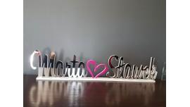 Lustrzane imiona Pary Młodej na stół do 12 znaków