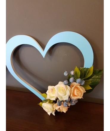 Serca 30x30cm-z dekoracją kwiatową