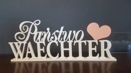 Napis na stół 3D Imiona z sercem