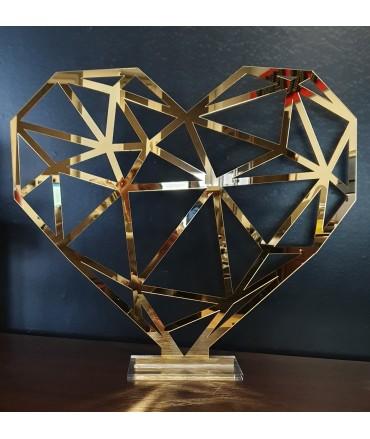 Serce geometryczne lustrzane 60x60cm z podstawką