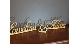 Brokatowe Imiona Pary Młodej - napis ze sklejki drewnianej na stół Pańśtwa Młodych